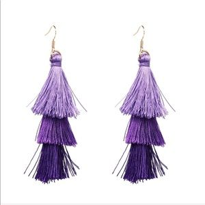 Jewelry - Long Tassel Drop Earrings (purple/lavender)
